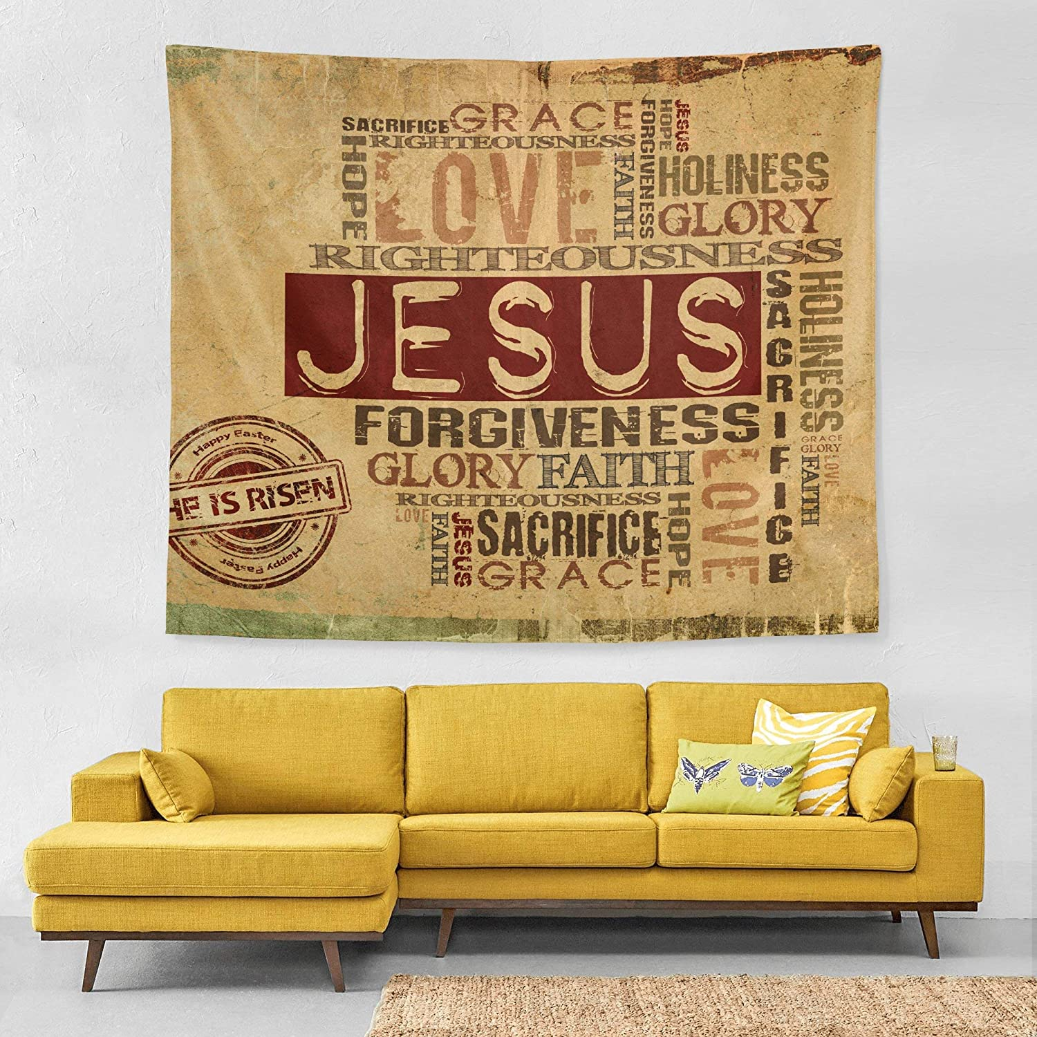 Wall Tapestry Jesus He is Risen Religious Livingroom Exclusive Decor Wall Hanging Art 60x51 Inches Horizontal Wall Backdrop Blankets for Bed Room Divider