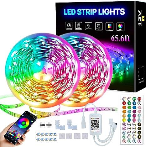 LED Strips 5050 RGB Music Sync String Light 65.6FT//20M Bedroom Strip Light Color Changing Rope Lights APP Control 44 Keys Remote for Bedroom Sitting Room Kitchen Home Party LED Strip Lights