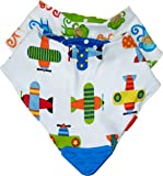 Nuby 2 Piece Bibs with Dribble Catcher and Teething Corner, Blue and Green