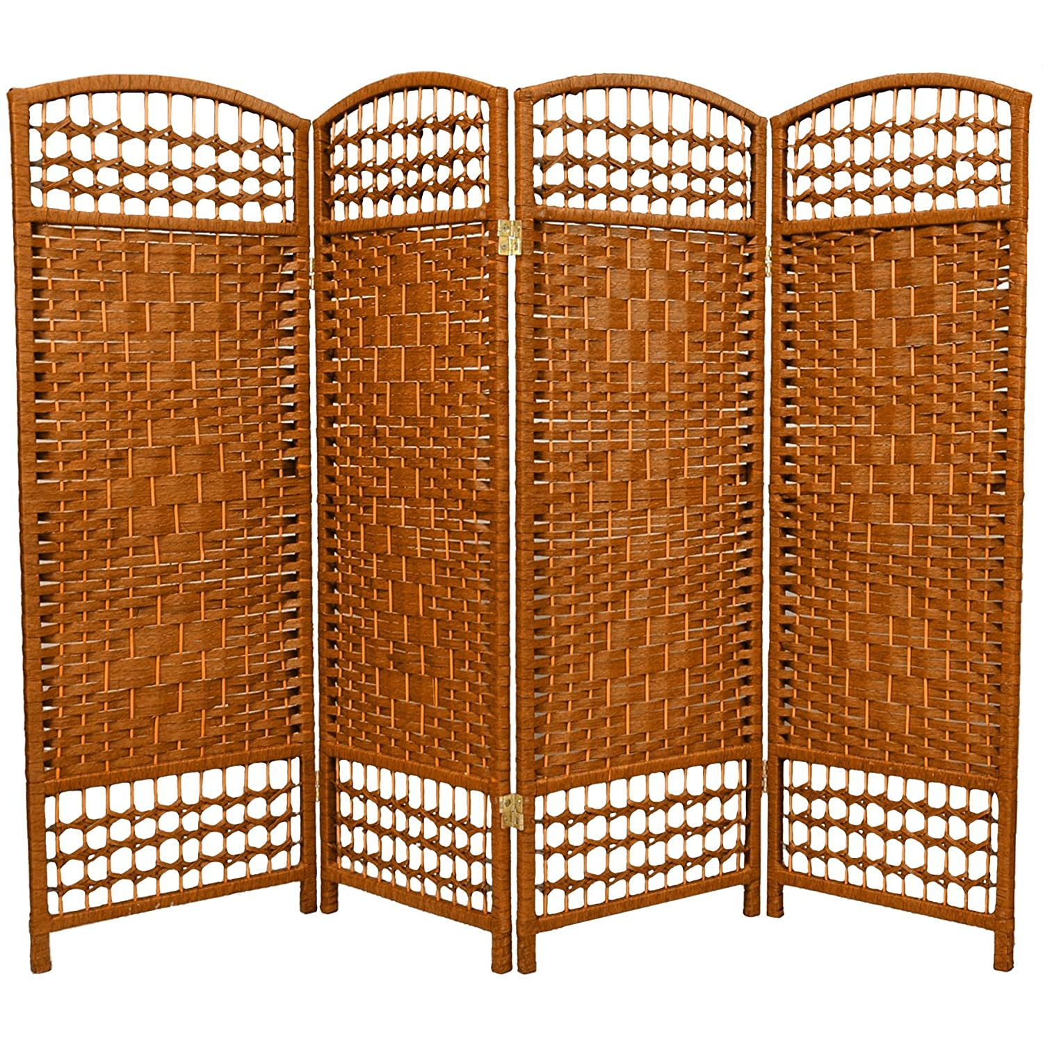Amazon.com: Oriental Furniture 4 Ft. Tall Fiber Weave Room Divider   Dark  Mocha   3 Panels: Kitchen U0026 Dining