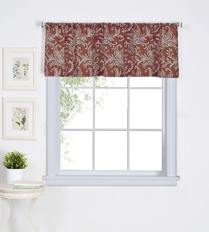 "Elrene Home Fashions 26865775761 Floral Rod Pocket Café/Kitchen Valance Window Curtain, 60"" x 15"", Spice"