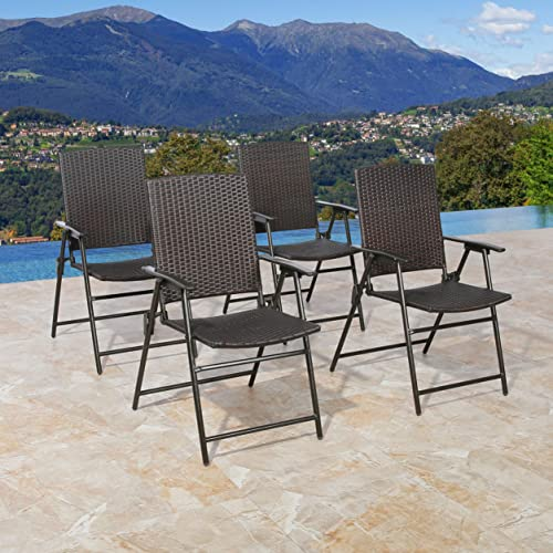 Iwicker Set of 4 Patio Rattan Steel Folding Bistro Chair