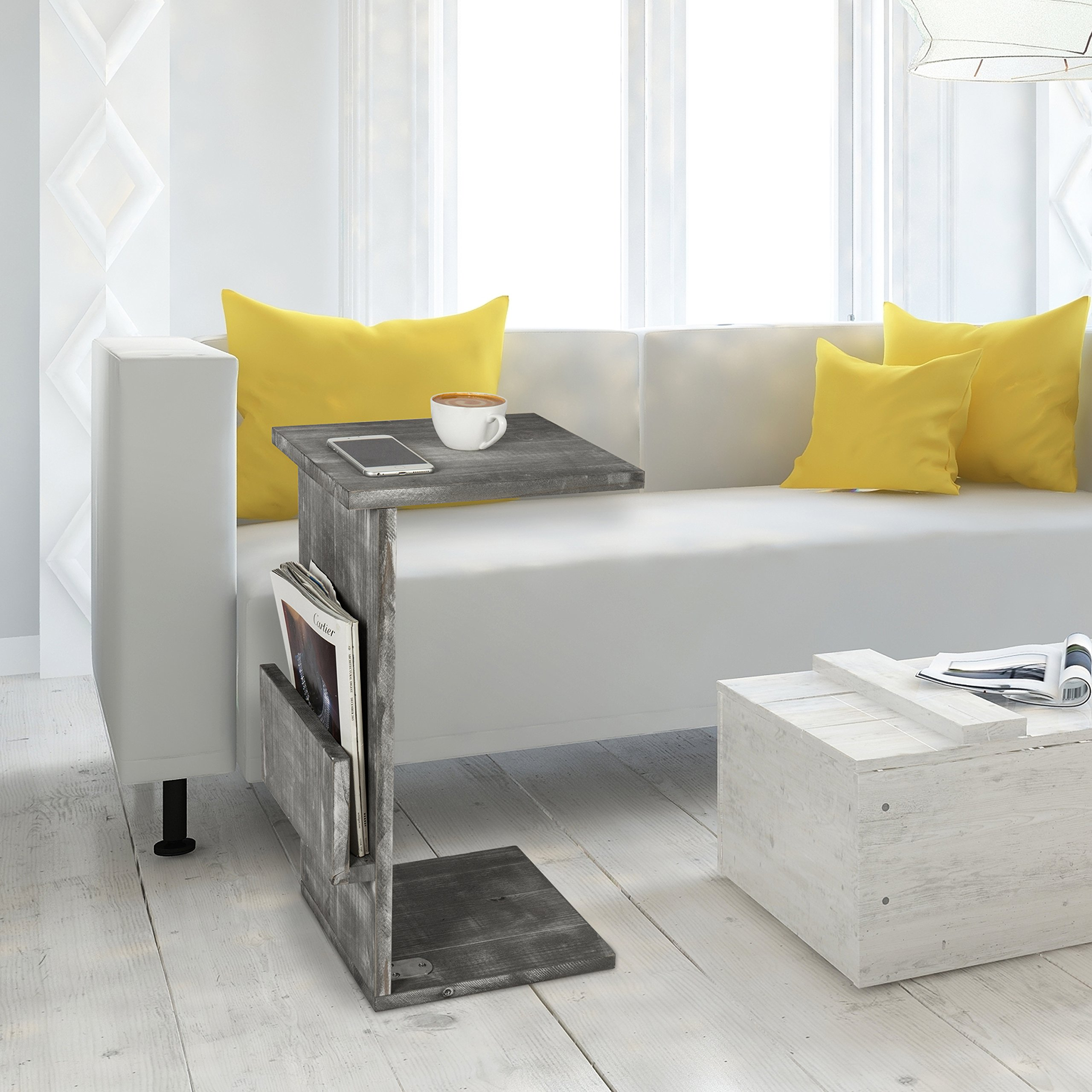 Gray Whitewashed Wood Sofa Side Table with Magazine Holder Rack, Under-the-Couch Sliding Tray by MyGift (Image #3)