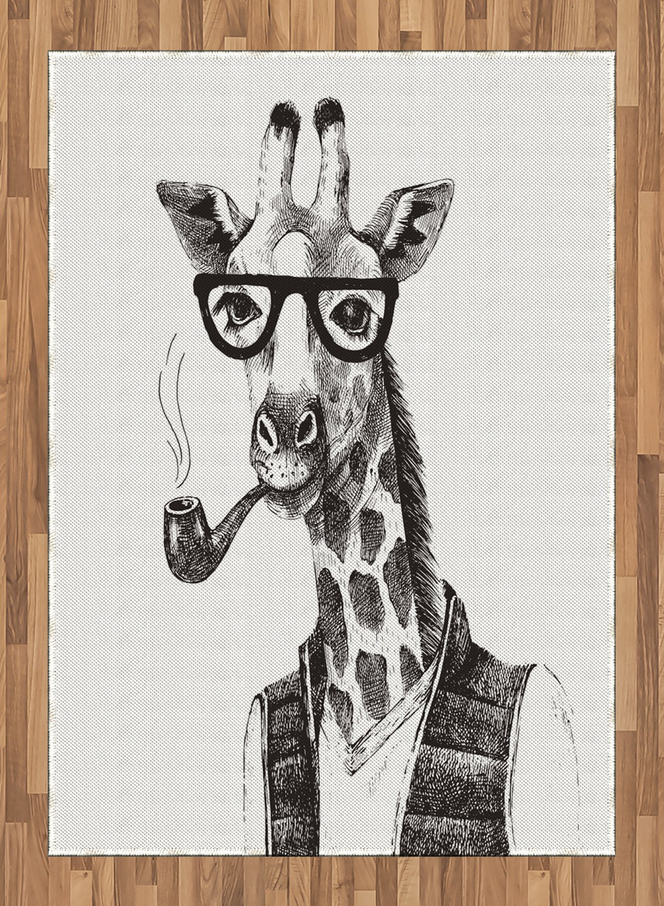 Quirky Area Rug by Lunarable, Giraffe Smoking Pipe Dressed Up Fancy Zoo Animal Fun Hipster Style Drawing, Flat Woven Accent Rug for Living Room Bedroom Dining Room, 5.2 x 7.5 FT, Charcoal Grey White