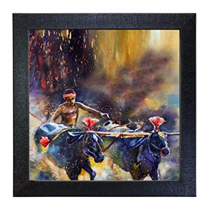 Sehaz Artworks 'Bull Ride' Wall Photo Painting (Vinyl, 30 cm x 30 cm x 3 cm, Black)