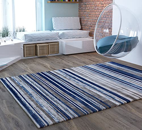 Home Way Blue Stripes Traditional Distressed 5 x 7 5'3″ x 7'3″ Area Rug Modern Vintage Transitional Rug Soft Living Dining Room Contemporary Area Rug