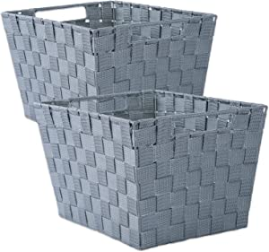 "DII Durable Trapezoid Woven Nylon Storage Bin or Basket for Organizing Your Home, Office, or Closets (Large Basket - 13x15x10"") Gray - Set of 2"