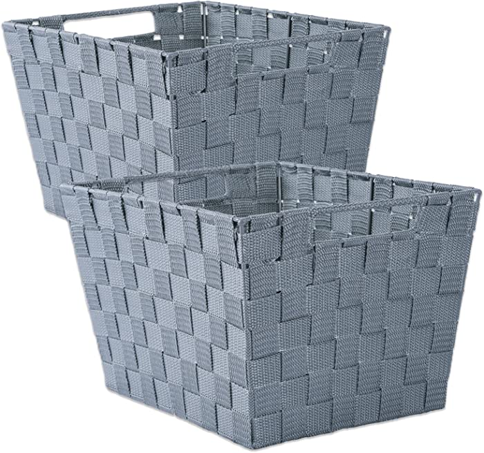 """DII Durable Trapezoid Woven Nylon Storage Bin or Basket for Organizing Your Home, Office, or Closets (Large Basket - 13x15x10"""") Gray - Set of 2"""