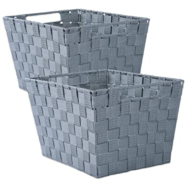 DII Durable Trapezoid Woven Nylon Storage Bin or Basket for Organizing Your Home, Office, or Closets (Large Basket - 13x15x10 ) Gray - Set of 2