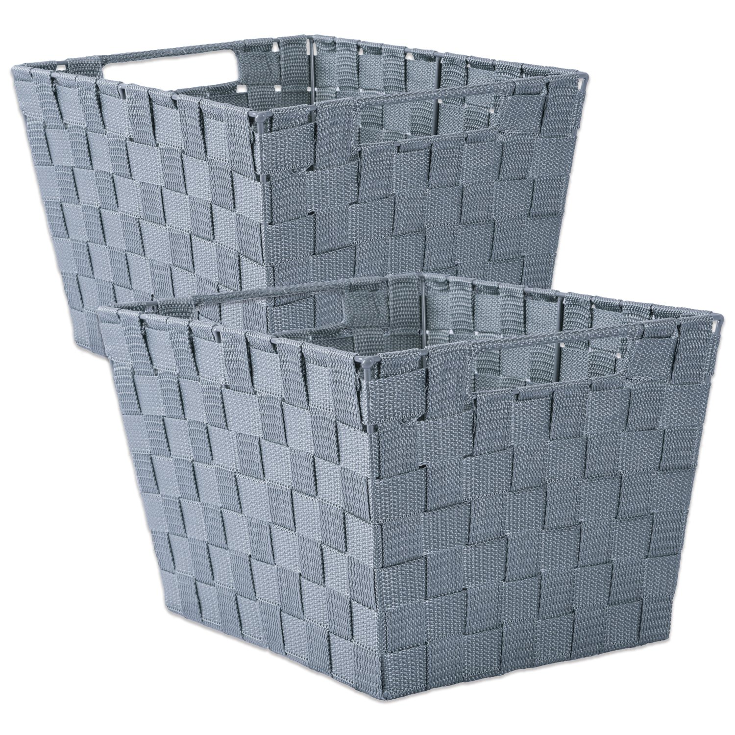 DII Durable Trapezoid Woven Nylon Storage Bin or Basket for Organizing Your Home, Office, or Closets (Basket - 12x10x8'') Gray - Set of 2 by DII