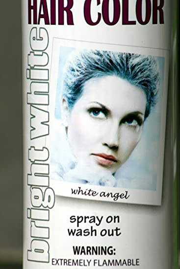 spray on wash out white hair color temporary hairspray great for costume or halloween party