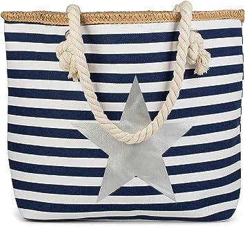 styleBREAKER Sac de plage à rayures marines avec étoiles imprimées et fermeture éclair, bandoulière, besace, femme 02012169, couleur:Rose-Blanc / Doré
