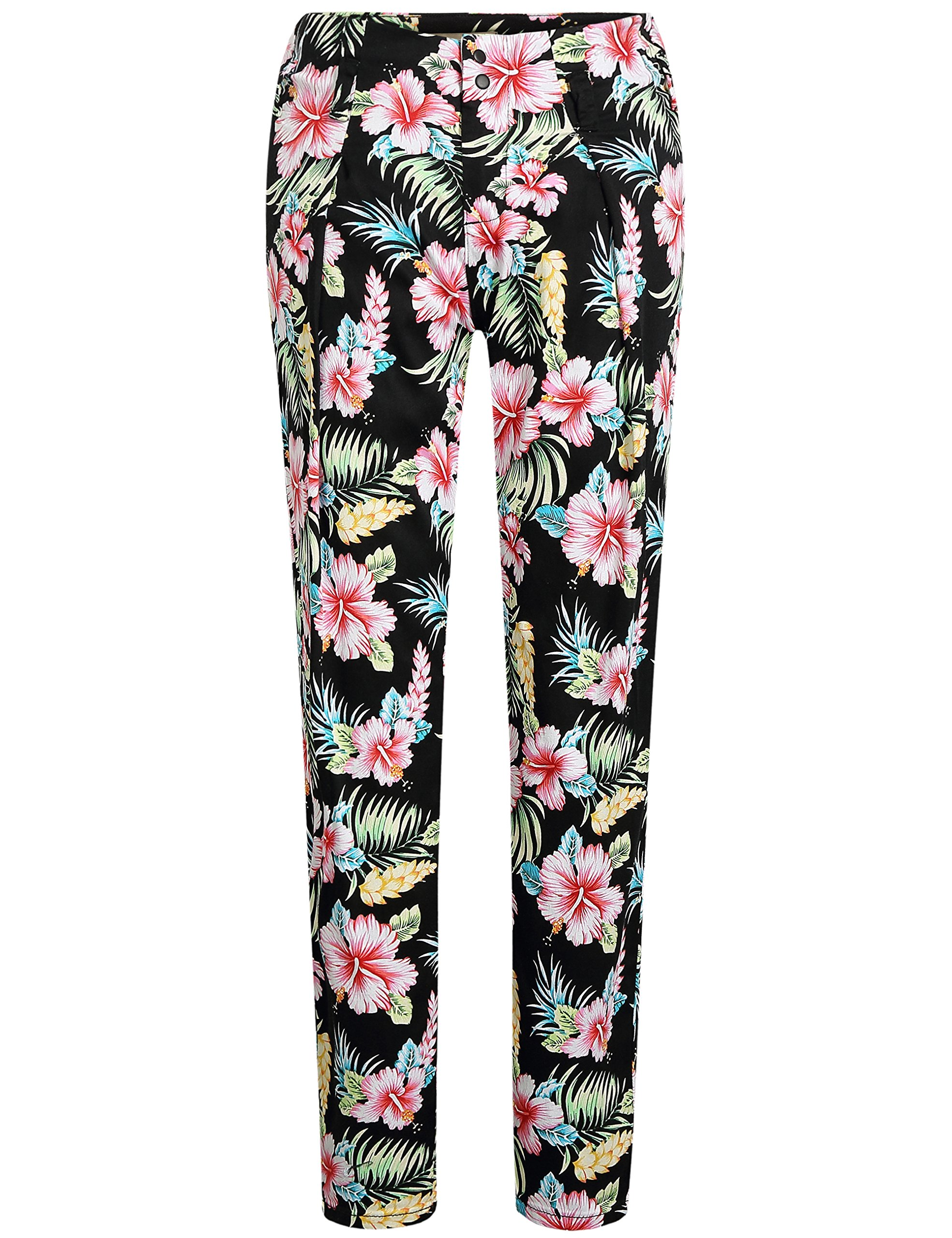 SSLR Women's Hibiscus High Rise Casual Slim Leg Hawaiian Pants (W30 x L30, Black)