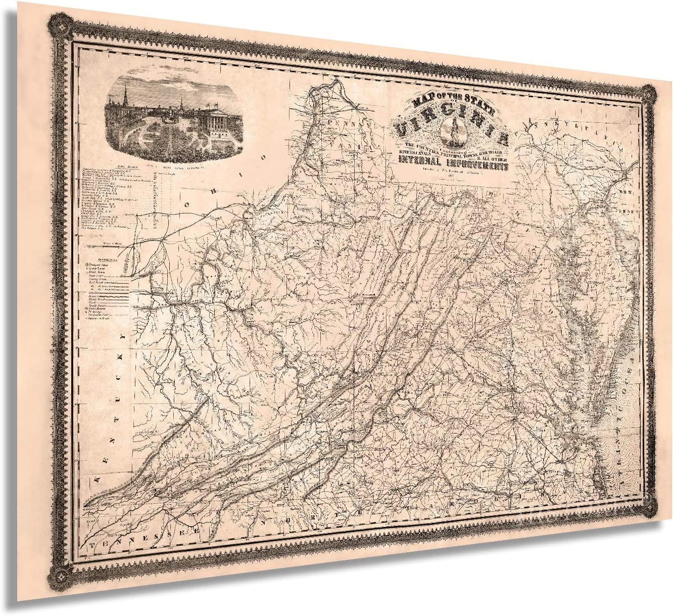 Historix Vintage 1862 Map of Virginia - 24x36 Inch Vintage Wall Art - Map of State of Virginia During the Civil War - State Map of Virginia - Virginia Wall Map - Virginia Decor (2 sizes)
