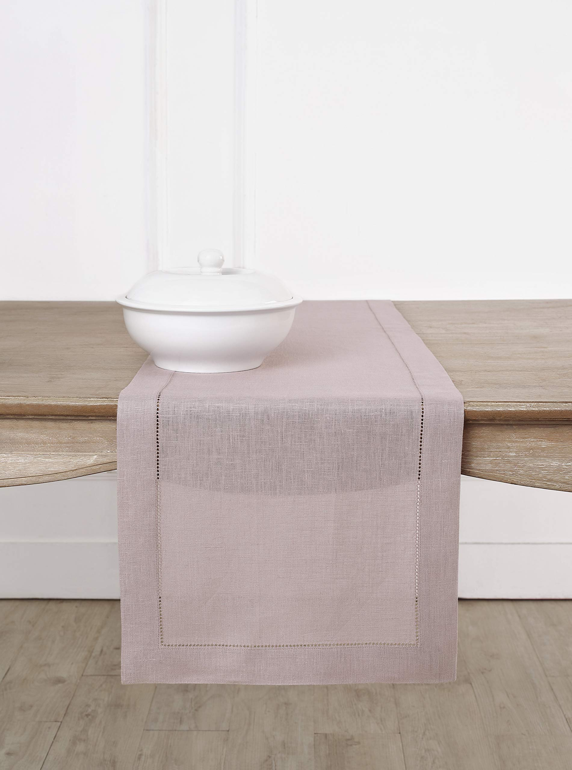Solino Home Hemstitch Linen Table Runner - 14 x 72 Inch, Handcrafted from European Flax, Machine Washable Classic Hemstitch - Lilac