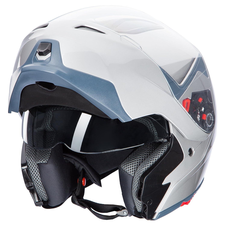 61-62 cm Ultrasport Casco de Moto Kh-5 Plata XL
