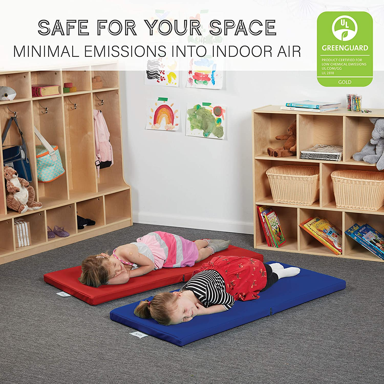Amazon Com Softscape 2 Fold Children S Rest Nap Mat For Home Daycares Classrooms 2 Inch Thick Foam With Built In Handles And Name Tag Holder 4 Piece Assorted Industrial Scientific
