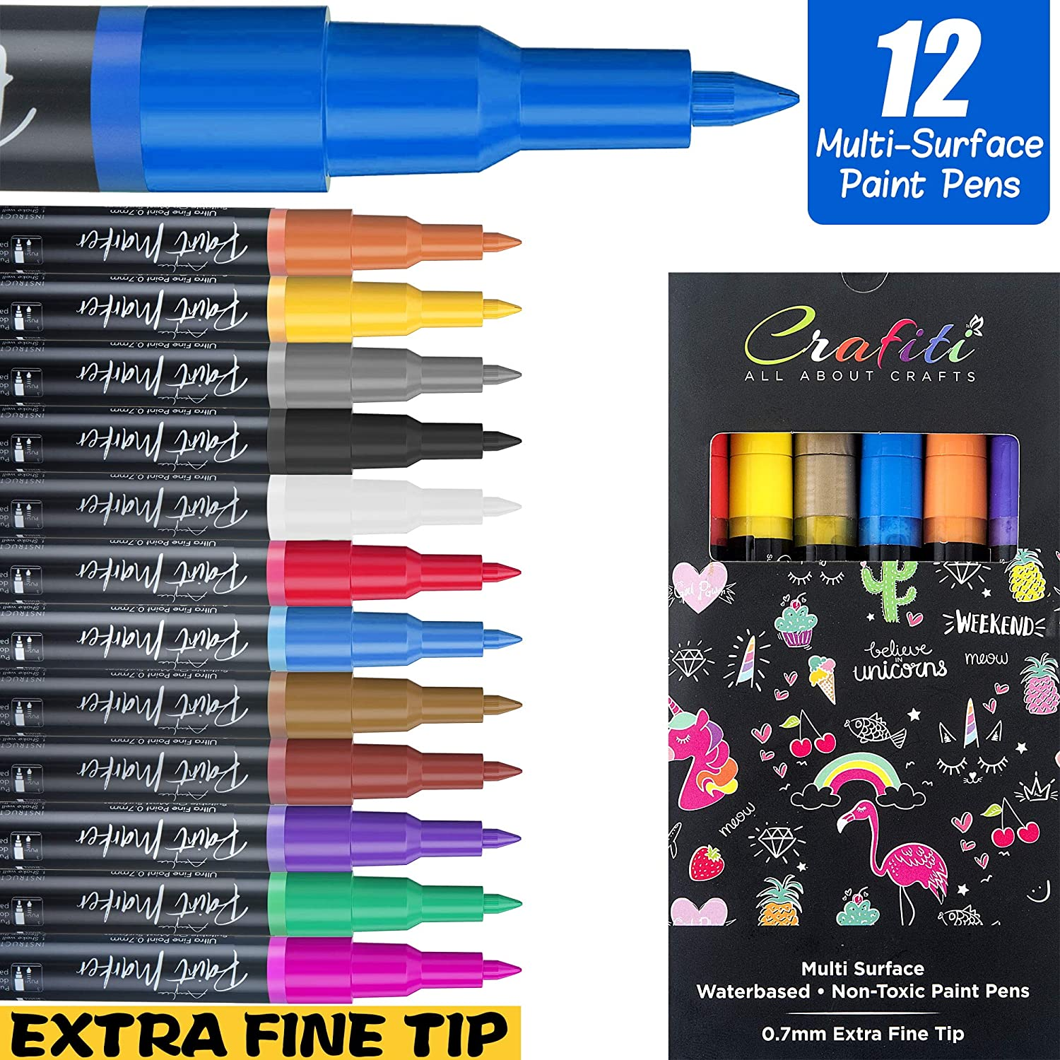 12 Paint Pens For All Surfaces - Rocks, Fabric, Metal & More. Ideal Paint Pens For Wood, Perfect Glass Paint Pens. Acrylic Paint Marker Pens Carefully Crafted & Designed For Your Next Artwork.
