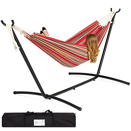 best choiceproducts double hammock with space saving steel stand includes portable carrying case red amazon     best choiceproducts double hammock with space saving      rh   amazon
