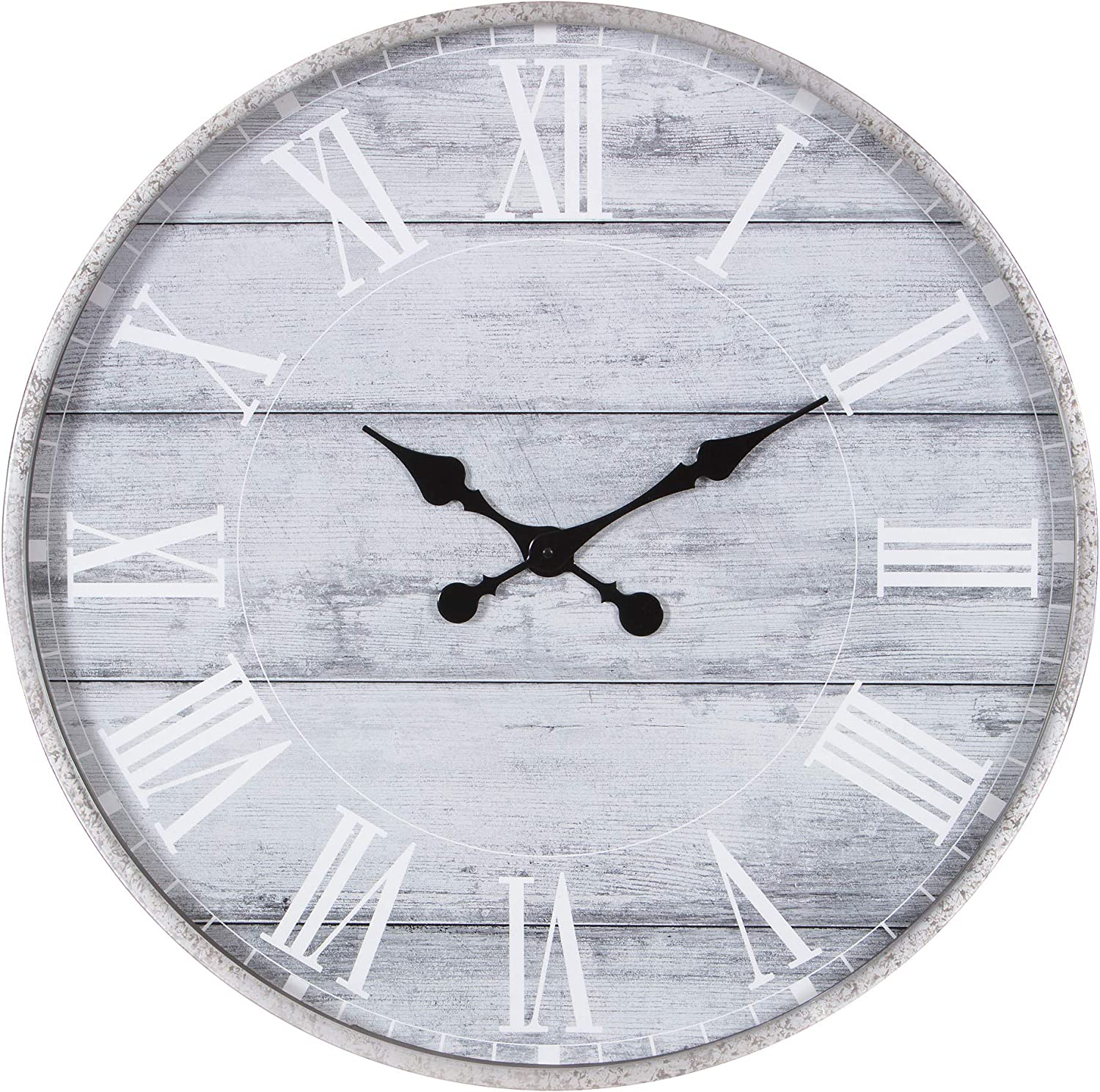 Cussing Cups 1807 3747 28 Galvanized Metal Gray Washed Wood Plank Roman Numeral Round Wall Clock Pack Of 1 Grey Home Kitchen