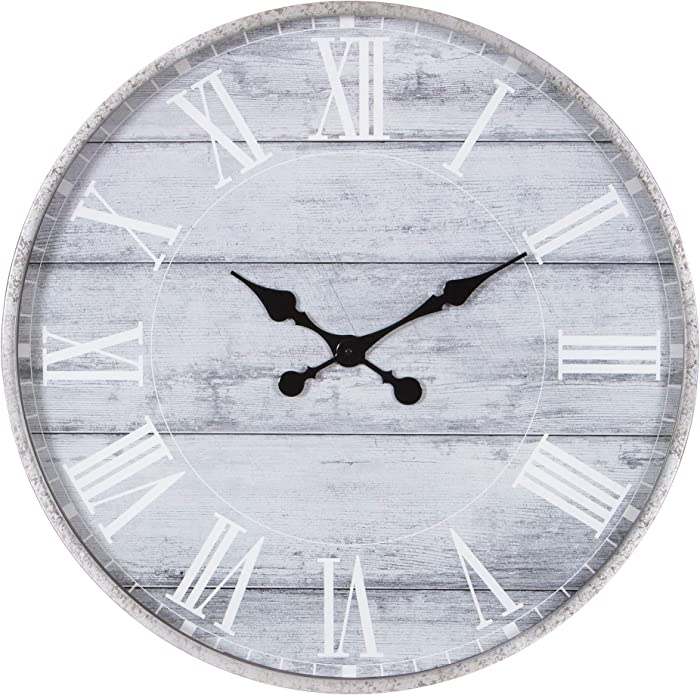 """Patton Wall Decor 28"""" Galvanized Metal Gray Washed Wood Plank Roman Numeral Round Wall Clock, Pack of 1, Grey"""