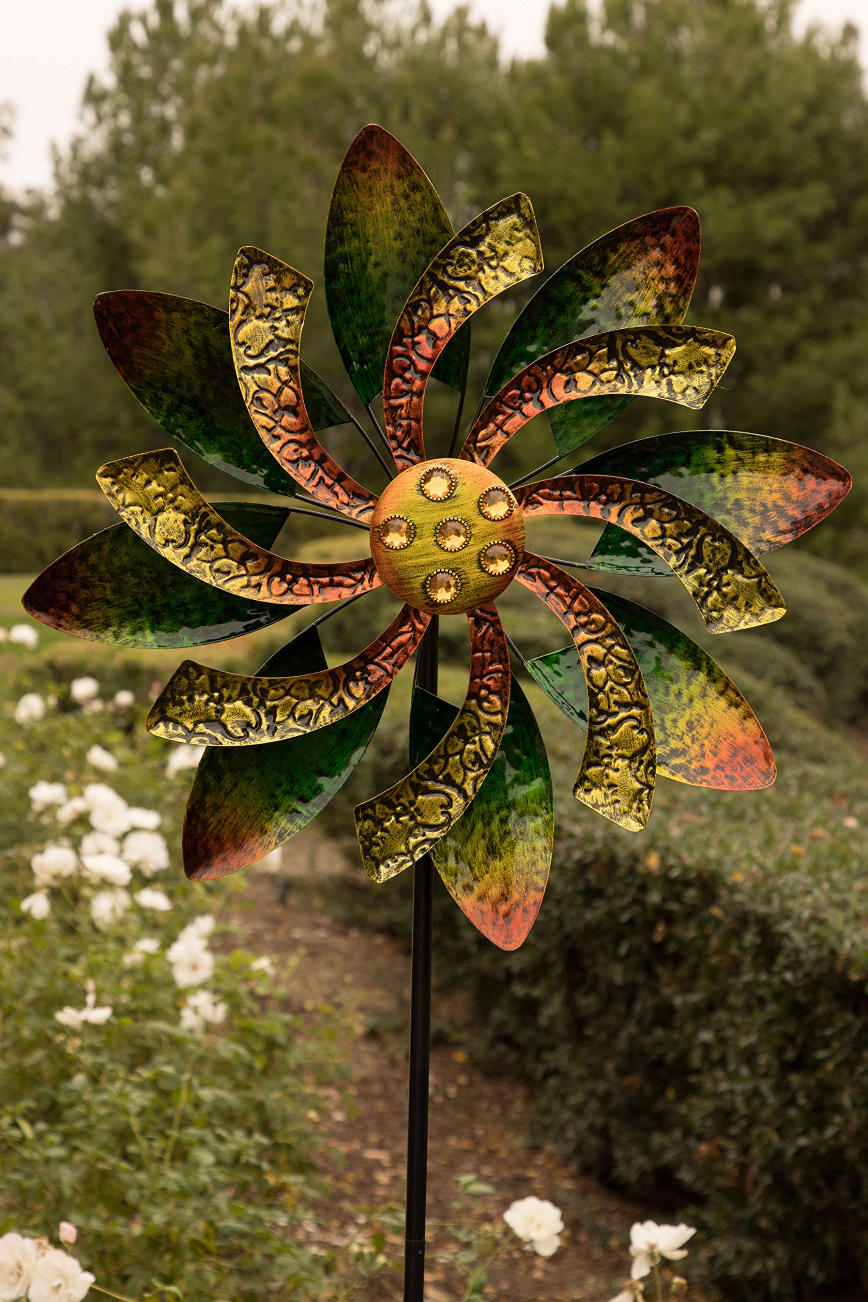 Alpine Corporation Dual Floral Windmill Stake with Gems - Kinetic Spinner - Outdoor Yard Art Decor - Green and Orange - 22'' x 7'' x 65''