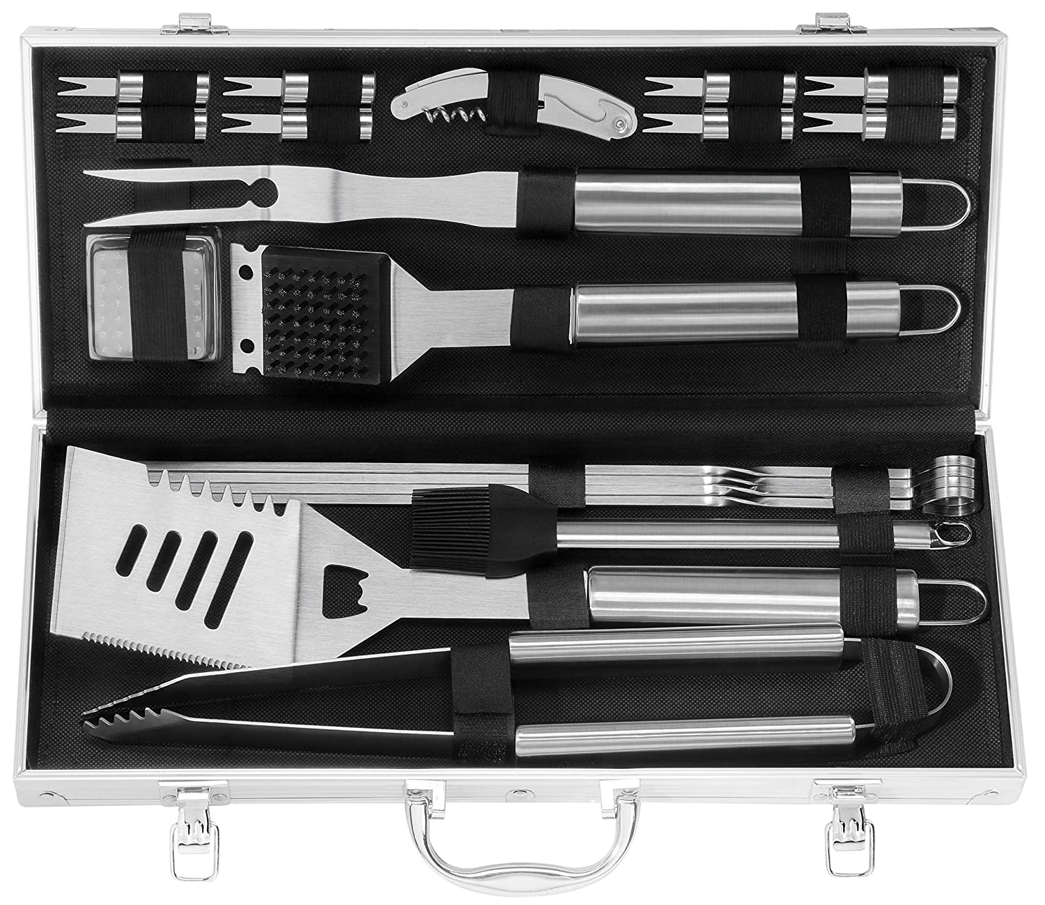 Grilljoy 20PCS Heavy Duty BBQ Grill Tools Set. Extra Thick Stainless Steel Spatula, Fork, eTongs Cleaning Brush. Complte Barbecue Grilling Accessories Kit in Aluminum Storage Case. Dishwasher Safe