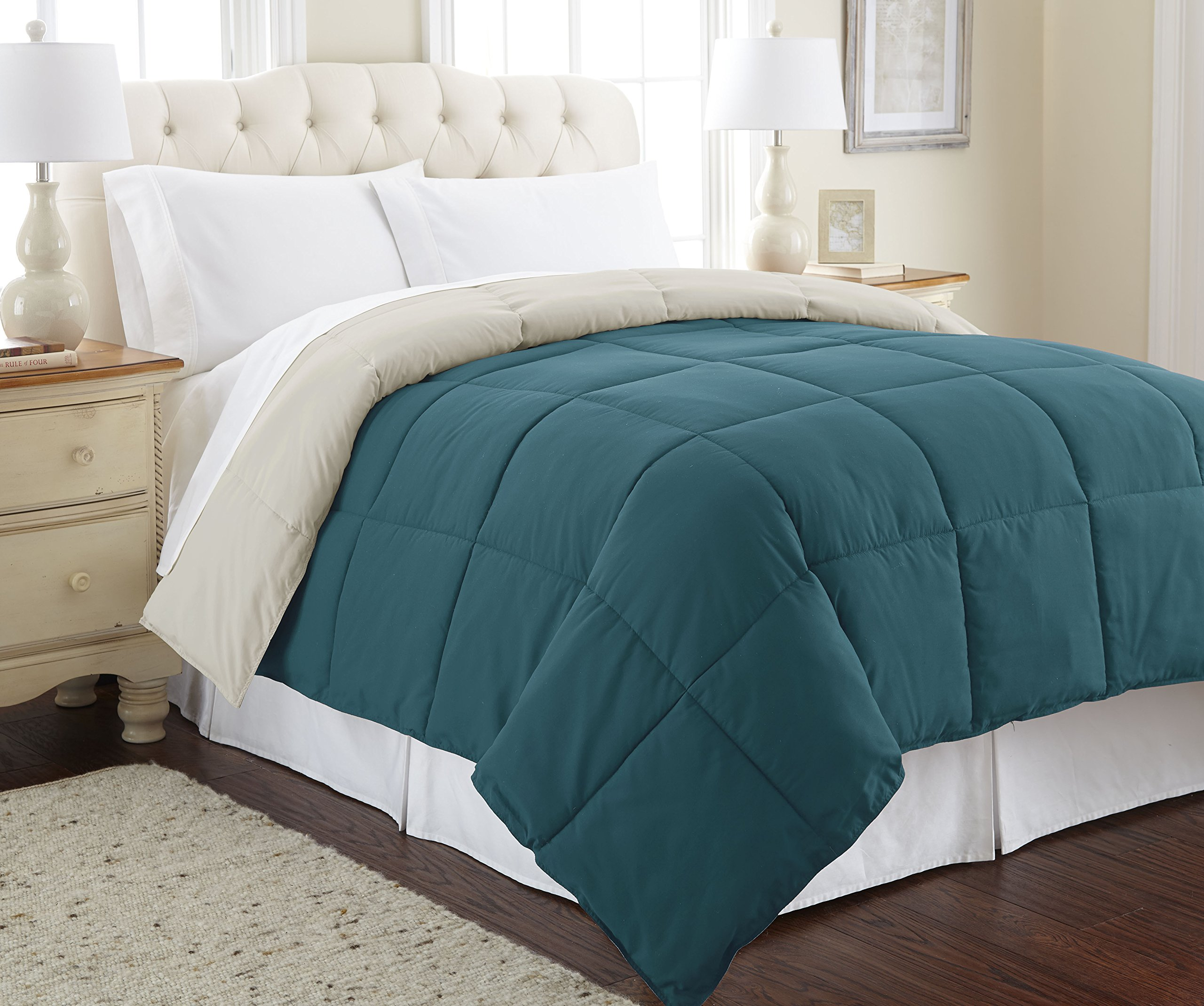 Amrapur Overseas   Goose Down Alternative Microfiber Quilted Reversible Comforter/Duvet Insert - Ultra Soft Hypoallergenic Bedding - Medium Warmth for All Seasons - [Queen, Coral Blue/Oatmeal]