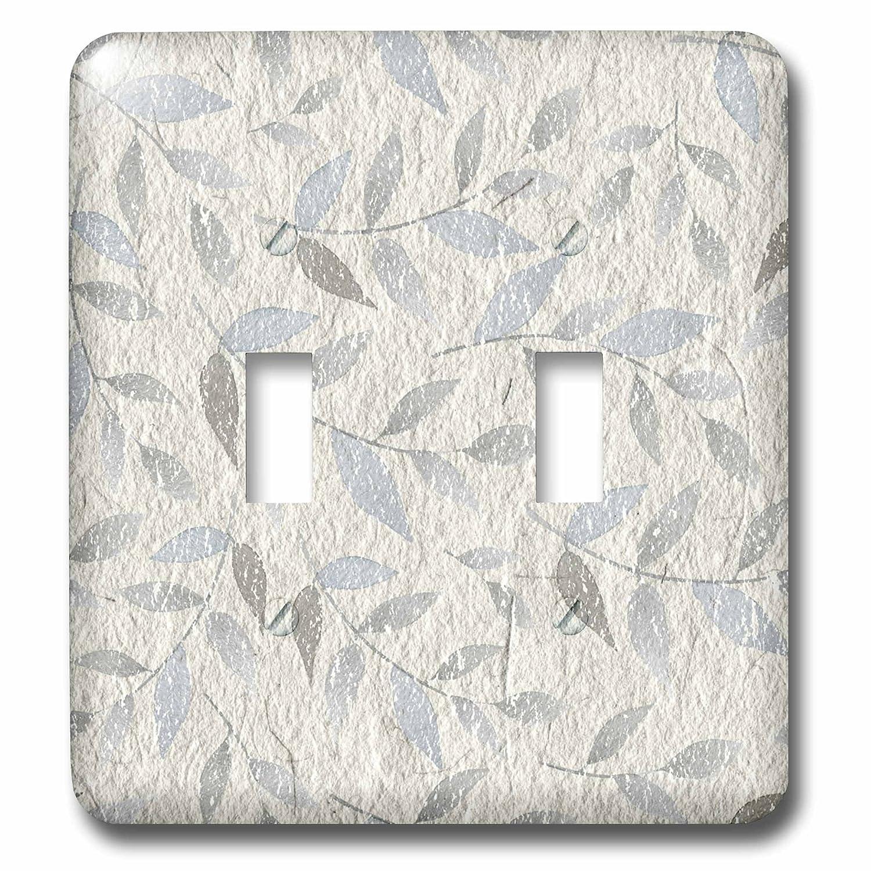 3dローズAnne Marie Baugh – パターン – PrettyライトブルーLeafy Flourishes On AグレーDistressed背景 – 照明スイッチカバー – ダブルトグルスイッチ( LSP _ 255076 _ 2 ) B071GB67Z4