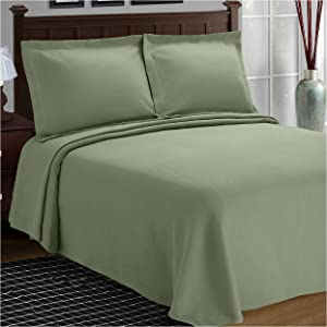 SUPERIOR Cotton Bedspread and Pillow Shams - Jacquard Matelassee Coverlet, Cotton Quilt, Sage, Twin Size