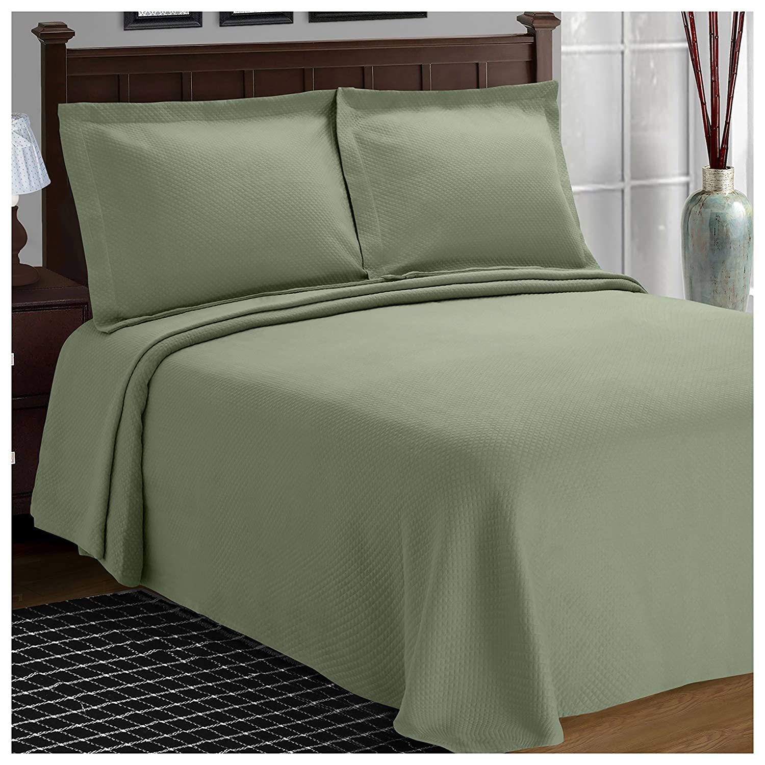 (Full, Sage) - Superior Diamond Solitaire Jacquard Matelasse 100% Premium Cotton Bedspread with Matching Shams, Full, Sage B01NBB1OIB セージ フル