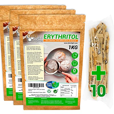 Eritritol 100% Natural Consumo Sostenible 3Kg pack en envases individuales Edulcorante 0 Calorias | Ideal para Reposteria, y Dietas |Edulcorantes DULCILIGHT el sabor natural del azucar.