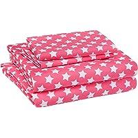 AmazonBasics Juego de sábanas, microfibra suave y fácil de lavar, infantil, matrimonial, estrellas rosadas