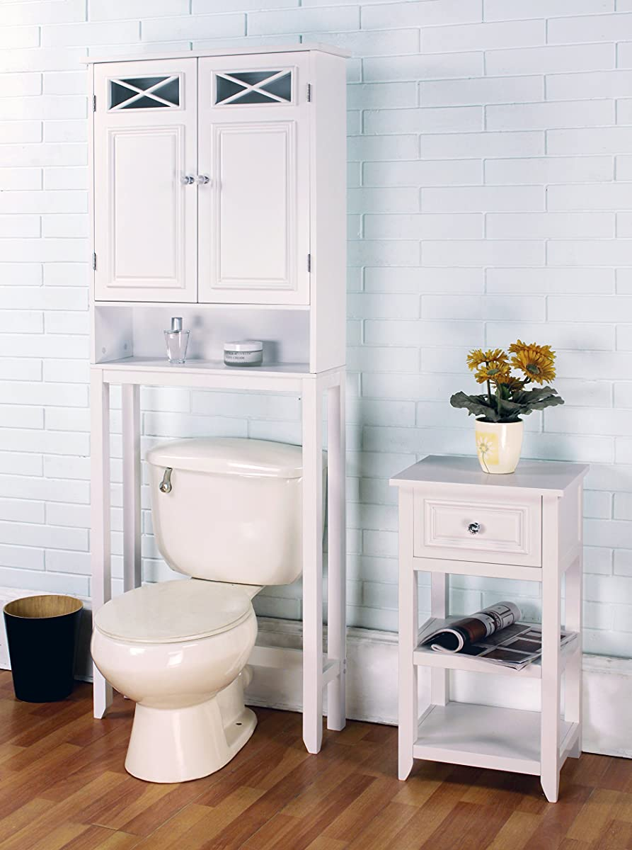Elegant Home Fashions Dawson Collection Shelved Bathroom Space-Saver with Storage Cubby, White