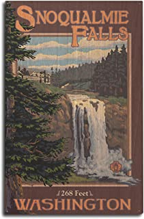 product image for Lantern Press Snoqualmie Falls, Washington - Day (10x15 Wood Wall Sign, Wall Decor Ready to Hang)