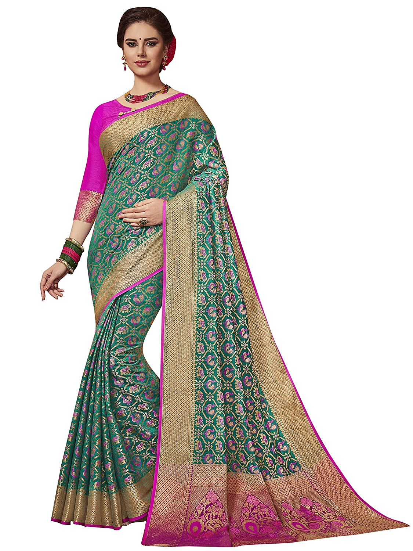 ELINA FASHION Indian Wedding Ethnic Sarees for Women Patola Art Silk Woven Work Saree,Sari Sari (Green-1) 3566