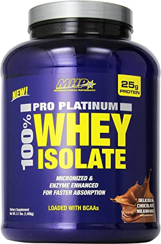 MHP Pro Platinum 100 Whey Isolate Delicious Milkshake, Chocolate,3.1 Pound