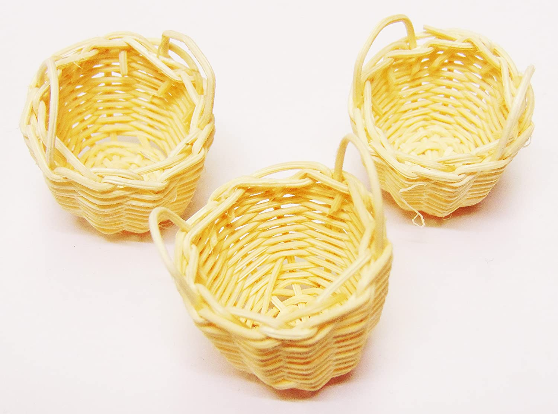 Tumdee Miniatures Dolls House Accessories Set of 3 Wicker Baskets C