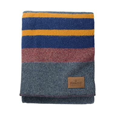 Pendleton Yakima Camp Thick Warm Wool Indoor Outdoor Striped Throw Blanket, Lake, Queen Size