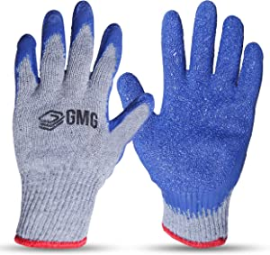 GMG Rubber Latex Double Coated Work Gloves 12 pairs M - Breathable Flexible Safety Grip Work Gloves for Men and Women   Cut Resistant Cotton Blend Technology   Multi-Use Construction Gardening Gloves