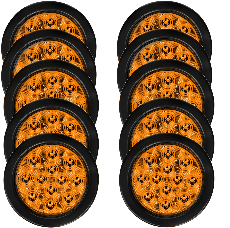 Eagle Lights EL4010A 12 Diode 4'' Round Amber LED Lights with Grommet and Plug ... (10 Pack)