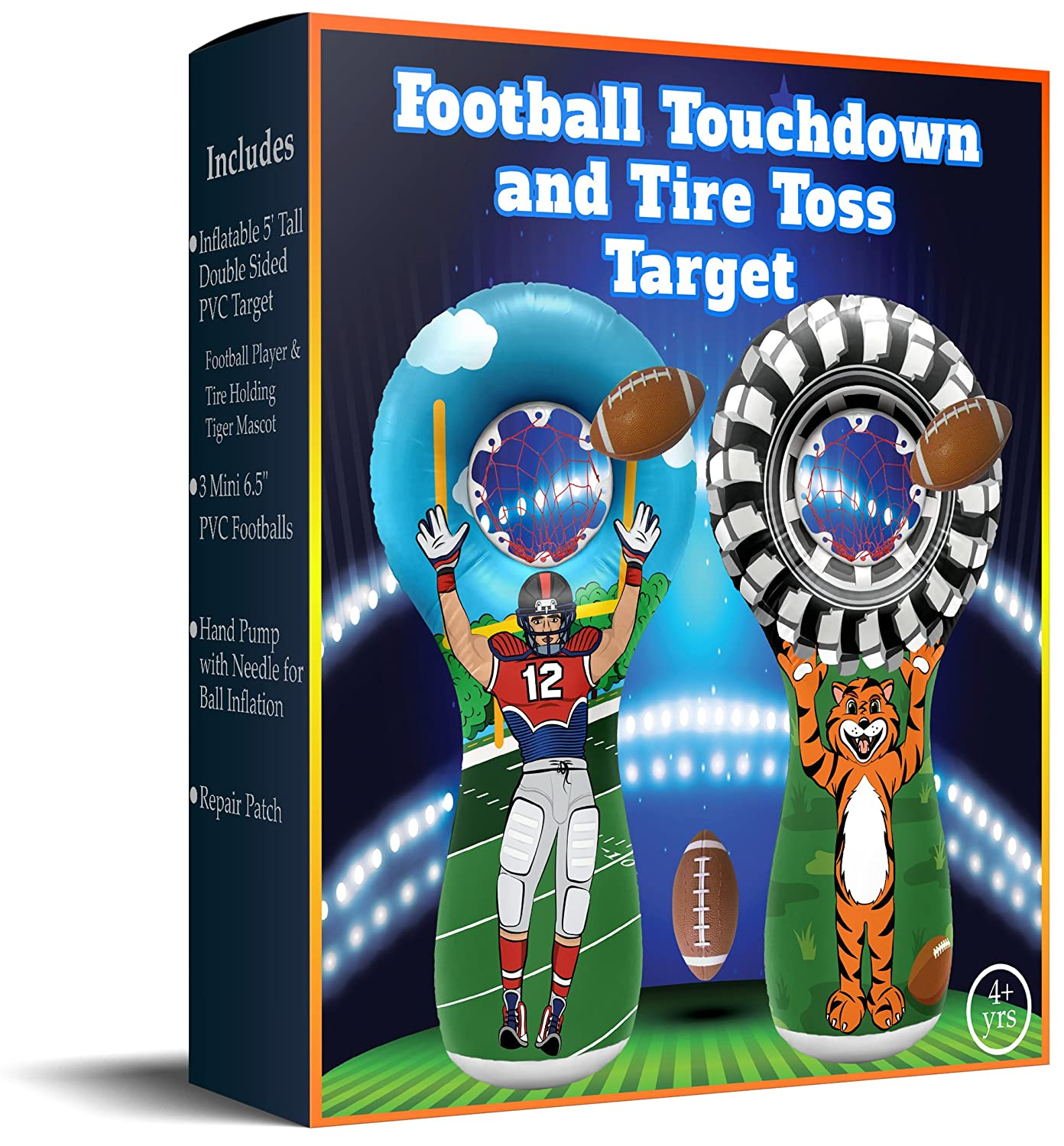 Football Player on One Side and Mascot Holding Tire on Reverse 5 Foot Tall Double Sided Throwing Target Toy ImpiriLux Inflatable Football Toss Sports Game with 3 Mini Footballs Included