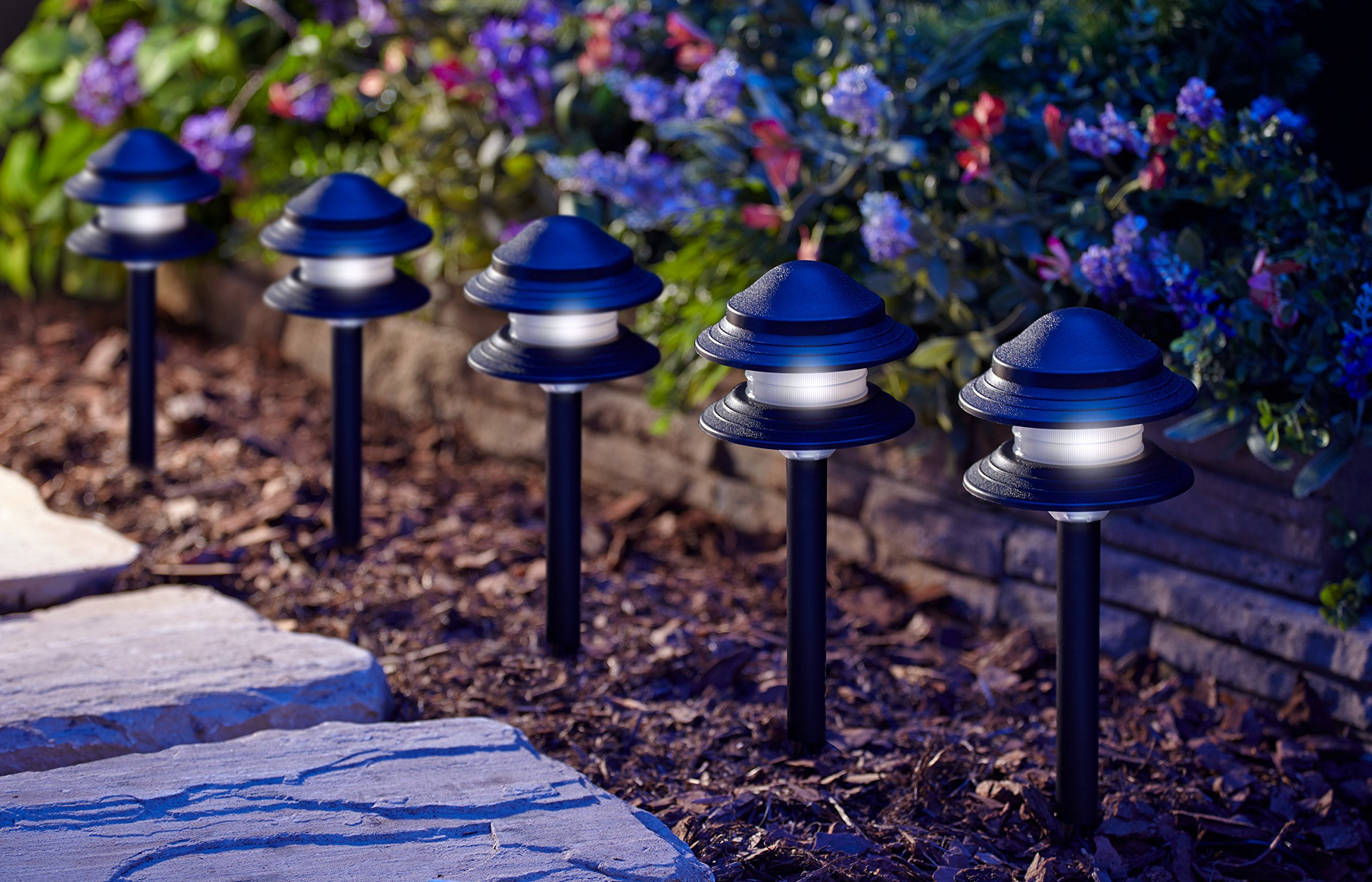 Moonrays 95561 LED Low Voltage Path Light Kit, Black (8 Pack)