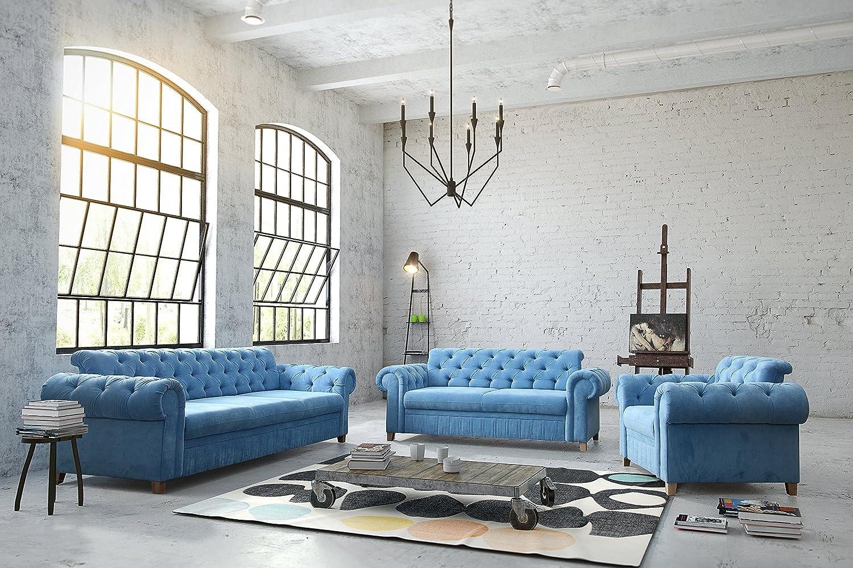 Designer Chesterfield Couch Garnitur 3 2 1 Mona Stone Mit Zierkissen