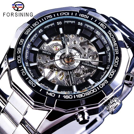 Forsining Steampunk plata hombres deporte de acero inoxidable reloj esqueleto mecánico reloj de pulsera