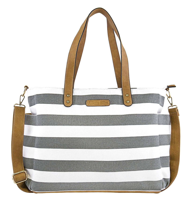 cc52d0d3521 Amazon.com: White Elm Gray Stripe Tote Bag The Aquila- Zipper Closure and 7  Pockets - Cotton Canvas & Vegan Leather: Shoes