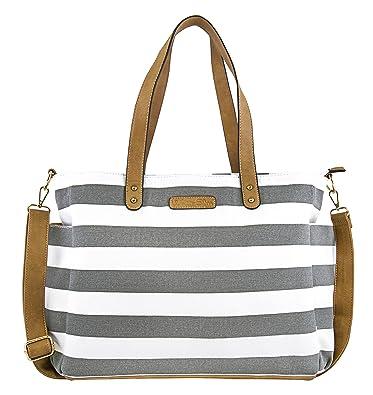 8d974eb0bbae White Elm Gray Stripe Tote Bag The Aquila- Zipper Closure and 7 Pockets -  Cotton