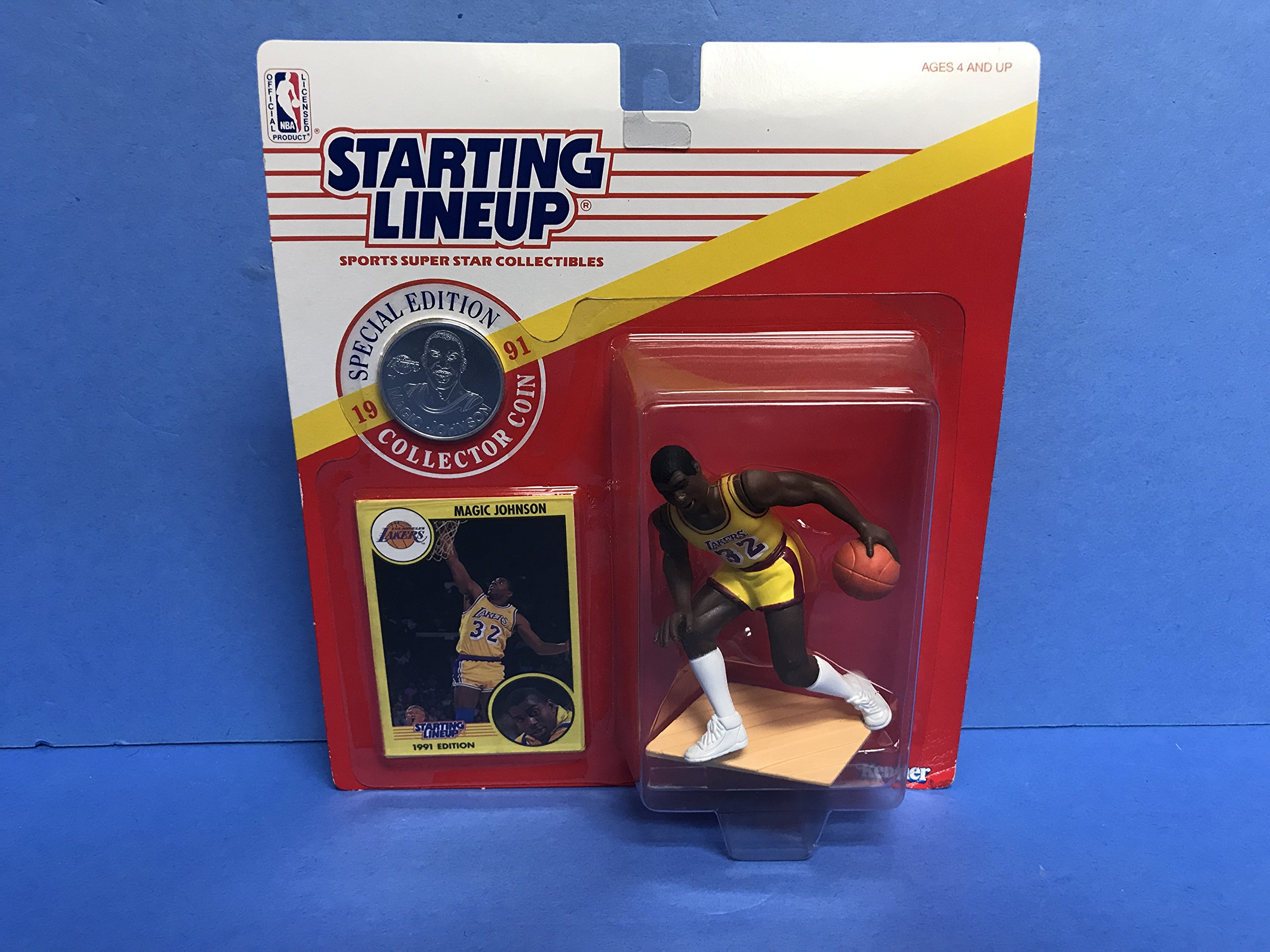 Magic Johnson Los Angeles Lakers Collectible Action Figure Toy with Trading Card and Special Edition Coin