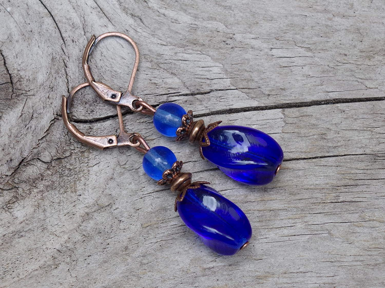violett wei/ß aubergine /& kupfer lila DIE LETZTEN! lavendel Vintage Ohrringe mit b/öhmischen Glasperlen und verzierten Kunststoff Oliven flieder