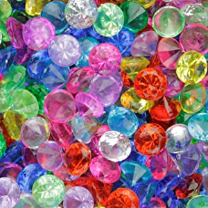 Entervending Acrylic Gems - Plastic Diamond Gems for Pirate Treasures - Assorted Jewels and Gems - Table Scatters Plastic Crystals - Colorful Stones for Vases - Aquarium Jewels Fake Gems Bulk 160 Pcs